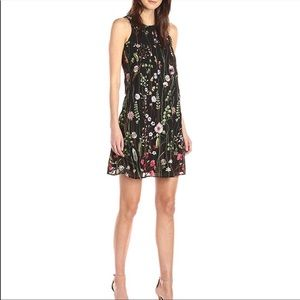 Floral embroidered chiffon trapeze dress
